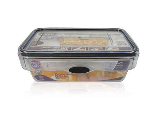 Stor-All Solutions PNC27RT/8 Rectangle Press N Click Food Container, 3.4 Cup, Clear/Grey Trim