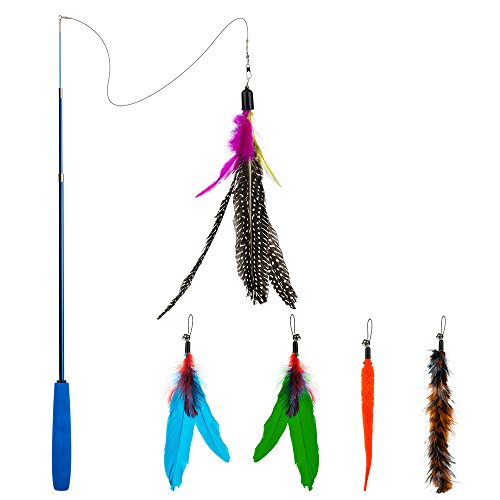 Wand Cat Teaser (Depets Feather Teaser Cat Toy, Retractable Cat Feather Toy Wand With 5 Assorted Teaser With Bell Refills, Interactive Catcher Teaser For Kitten Or Cat Having Fun Exerciser Playing)