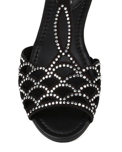T BA91 Toe Suede Strap Jewel D'orsay Black Women Flat Open Scale Breckelles Wedge Cutout Ballet qUnwxaHa