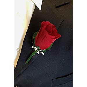 Angel Isabella Classic Rose Boutonniere with Very Nice Vein Pattern Printed Leaf. Pin Included (Apple Red) 108