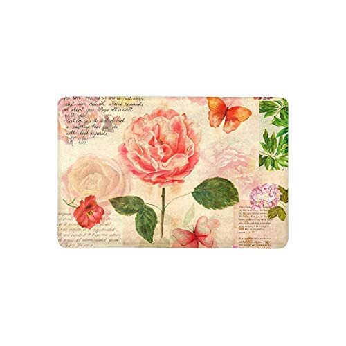 Vintage Watercolor Roses Flowers with Butterflies On Old Postal Stamps Doormat Anti-Slip Entrance Mat Floor Rug Door Mat Home Decor, Rubber - Postal Old Stamps