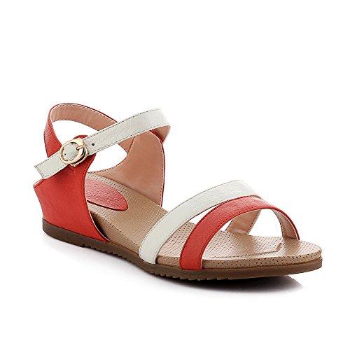 Amoonyfashion Kvinna Låga Häl Mjukt Material Fast Spänne Öppen Sandaletter Röda