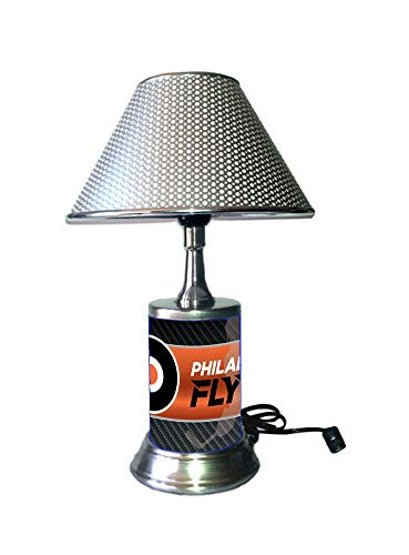(Rico Table Lamp with Chrome Colored Shade, Philadelphia Flyers Plate Rolled in on The lamp Base)
