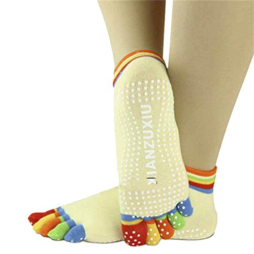 Yoga Socks,Womens 5-Toe Colorful Yoga Gym Non Slip Soft Ventilation Massage Protect Toe Socks-Steplove (Yellow) 1/2 Inch Sexy Black Pump