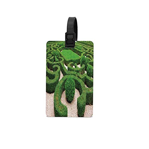 (SDGlicenseplateframeIUY Photo of Symmetric Complexity Garden Park Topiary Shrub on Gravels Luggage Tags dentifier Label ID Address Holder Unisex ID Address Holder for Travelg)