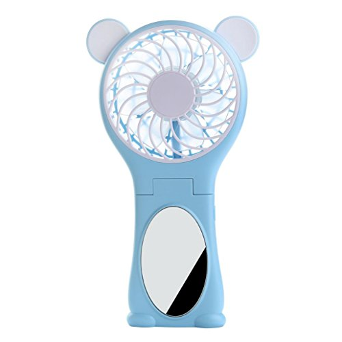 Vibola Bear-shaped Handheld USB ultra Mute Foldable Mini Fan Power Rechargeable Battery Operated Hand Bar Fans Personal Cooling Portable Desk Office Silent Desktop (Light Blue)