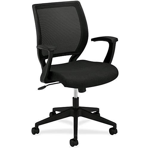 HON HVL521.VA10 Mid Back Task Chair - Mesh Back Office Chair for Computer Desk, Black (HVL521)