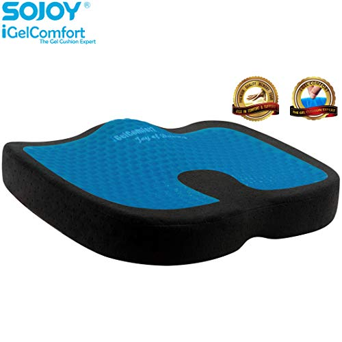 Sojoy Gel & Memory Foam Seat Cushion for Back Pain Relief and Tailbone Support, Premium Comfort Non-Slip Orthopedic Coccyx Seat Cushion for Office Chair, Car Seat & Sciatica Relief