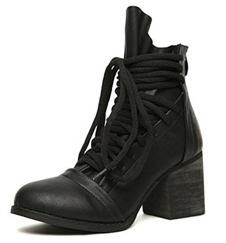 Easemax Women's Chic Round Toe Lace Up Ankle Wrap Zip Up Mid Chunky Heel Ankle High Boots Black 5Dfbzo