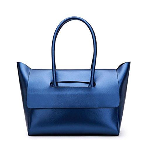G-AVERIL Maletin Piel para Mujer Bolso Bandolera Mensajero de Piel para Azul Azul