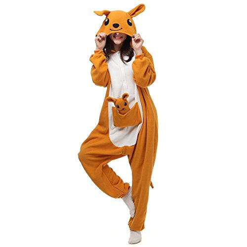 ElfZ Adult Onesie Animal Cosplay Costume Pajamas Women Men Cartoon One Piece Plus Size Sleepwear (X-Large, Kangaroo) -