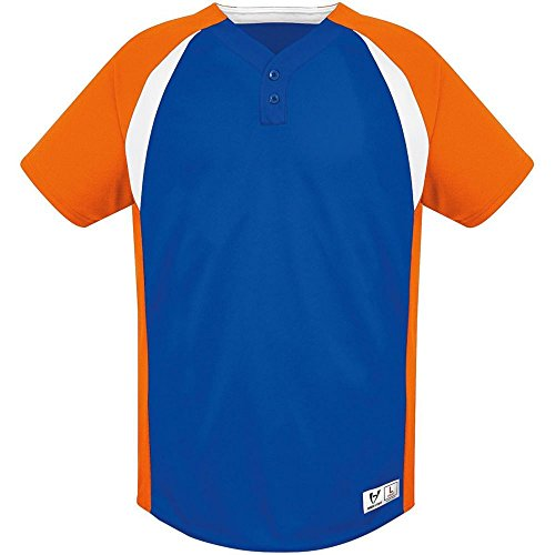 (High Five Gravity Two Button Jersey - Adult,Royal/Orange/White,Large)