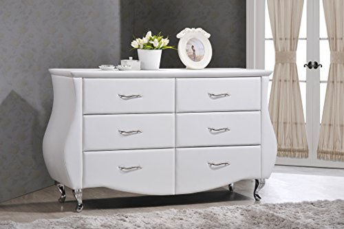 Baxton Studio Enzo Modern & Contemporary Faux Leather 6-Drawer Dresser, Medium, White