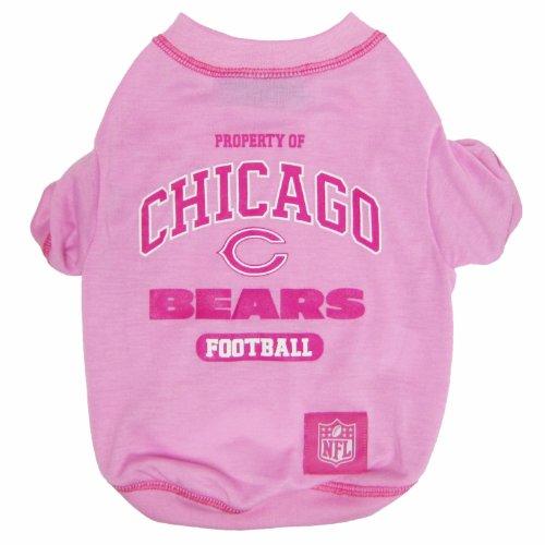 NFL CHICAGO BEARS Pink Dog T-Shirt, Medium. - Football Sports Fan Pet ()