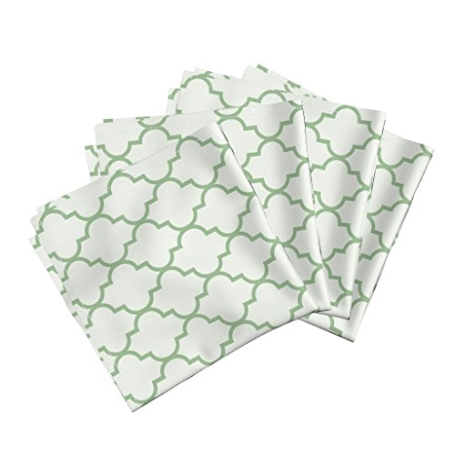 Roostery Ogee Green Trellis Fretwork Geometric Moroccan Linen Cotton Dinner Napkins Summer Lawn Quatrefoil by Willowlanetextiles Set of 4 Dinner (Summer Trellis)