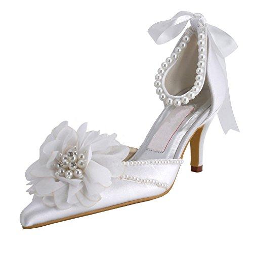 Toe Bridal High Satin Womens Shoes White Beading Minitoo Pointy Pump Heel Wedding x1pfcBw