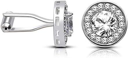カフス メンズメタルカフスアクセサリービジネスメンズファッションカフスシャツアクセサリーメンズダイヤモンド高級ウェディングスタッズジルコンフレンチカフスプレミアムメンズシャツカフスビジネスシャツ(1色) カジュアルからフォーマルまで幅広く活用できるカフスです (Color : Silver, Size : One size)