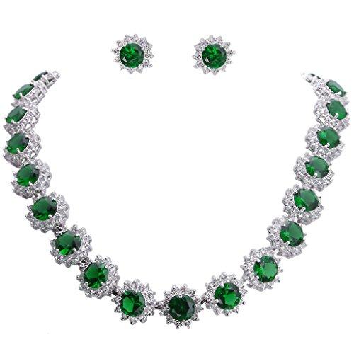 EVER FAITH Elegant Star Round Prong CZ Birthstone Necklace Earrings Set