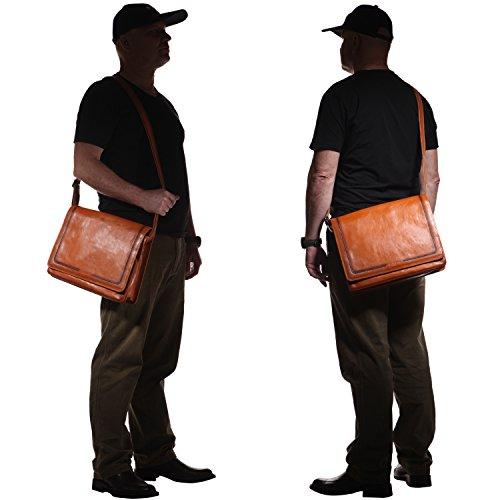 Banuce Vintage Leather Messenger Bag for Men 14 Laptop Business Crossbody Shoulder Satchel Bag by Banuce (Image #6)