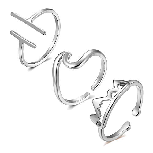 Happrrow 3PCS Love Knot Arrow Ring for Women Adjustable Ring Set - Open Bar Statement Ring Mountain Wave Ring Silver Plated (B:3pcs Mountain&Wave&bar)