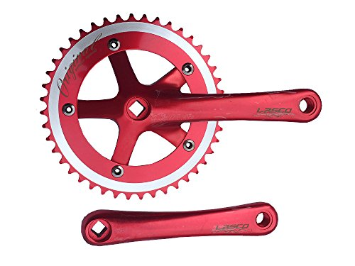 Ride Scoozy Lasco Bicycle Crankset for Fixed Gear or Single Speed, 44 Teeth, 165mm Length (Red)
