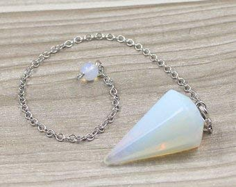 - Jet Opalite Cone Faceted Pendulum Chain Opal Carved Handcrafted Antique India Reiki Dowsing Healing Chakra Balancing Image is JUST A Reference