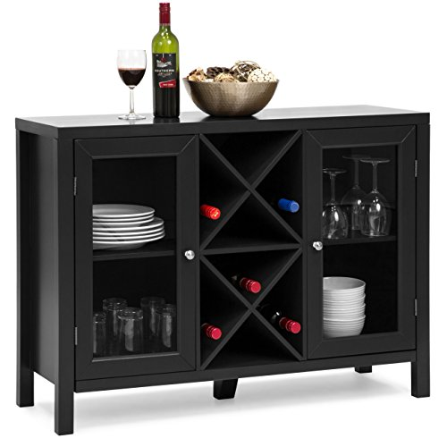 Best Choice Products Wooden Wine Rack Console Sideboard Table w/Storage - Black