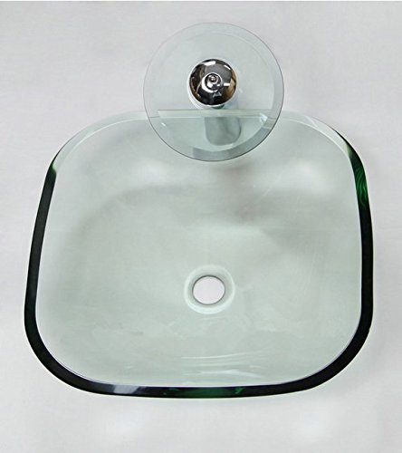 GOWE Popular Color Bathroom Washbasin Tempered Glass Basin Sink & Waterfall Glass Faucet 0