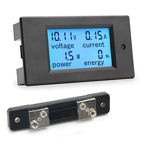 DROK Small Digital Multimeter DC 6.5-100V 50A Voltage Amperage Power Energy Meter DC Volt Amp Tester Watt Meter Gauge Monitor LCD Digital Display