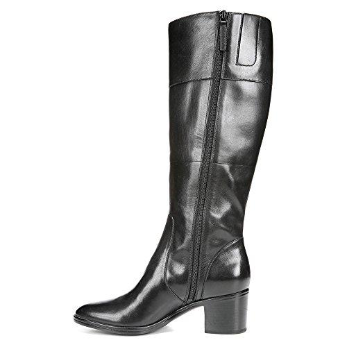 Naturalizer puerto ancha de la pantorrilla bota de montar Cuero negro