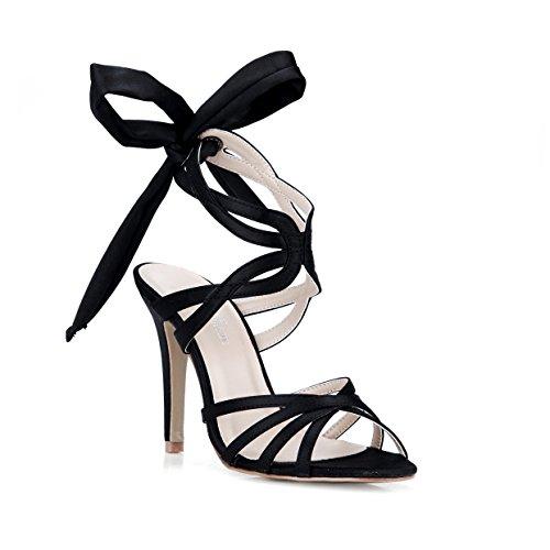 Noche Vestido Femenina Ribbon Alta Black Heel Shoes Multa De Nuevas Una Con Sandalias Negro Hermoso Espectáculo Elegancia 7wffHq6p