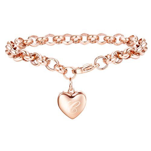 Initials Heart Bracelet (Adramata Rose Gold Personalized Initial Bracelets for Women Girls Customized Heart Cute Ankle Bracelets Adjustable C)