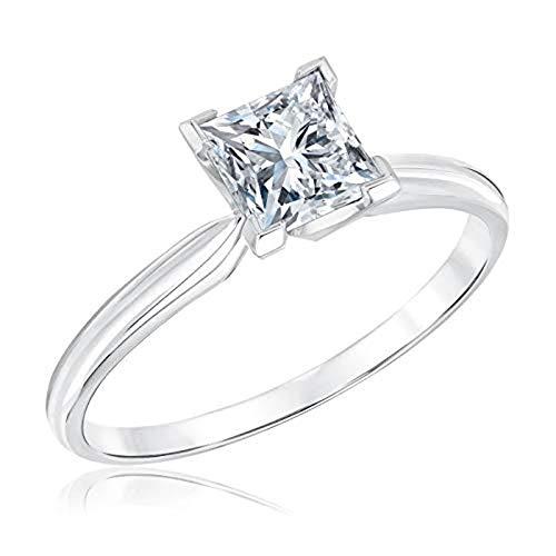 Cut Classic Solitaire Princess - Dividiamonds 1Ct Princess Cut Cubic Zirconia Classic Solitaire Engagement Ring 18K White Gold Finish (8)