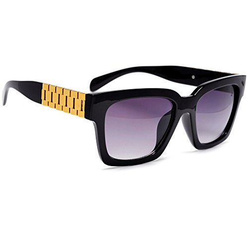 Hip Hop Tapered Watch Band Metal Chain Temple Horned Rim Sunglasses (Black/Gold - Ray Wayfarer Band