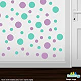 Set of 30 - Lilac / Mint Green Circles Polka Dots Vinyl Wall Graphic Decals Stickers by Decal Venue