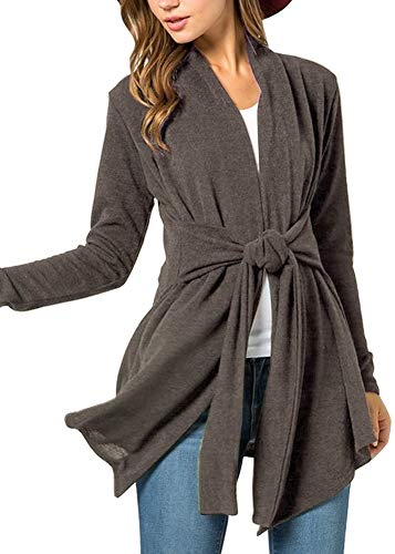 Women's Casual Tie Waist Fuzzy Kimono Open Front Cotton Long Sleeve Cardigan Coffee 2XL