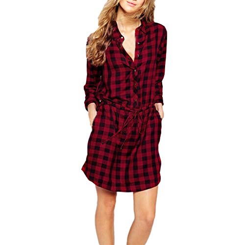 Bravetoshop Women Turn-Down Collar Plaid Dress with Belt Long Sleeve Casual Tunic Blouse (Red, L) ()