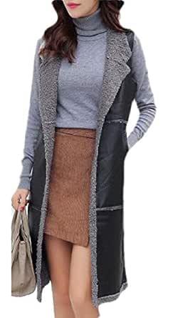 Women's Vest Faux Leather Lamb Wool Lined Outwear Sleeveless Jackets Grey L