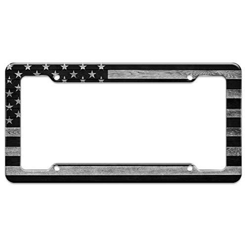 (Rustic Subdued American Flag Wood Grain Design License Plate Tag Frame)