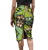 Mfasica Women Zip Up Plus Size African Print Half Skirt Vogue Bodycon Skirt 4 4XL