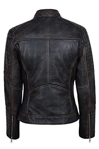 Señoras Nuevo 2735 Speed Racing Vendimia Negro Frotar Estilo Biker Chaqueta de piel de cordero real