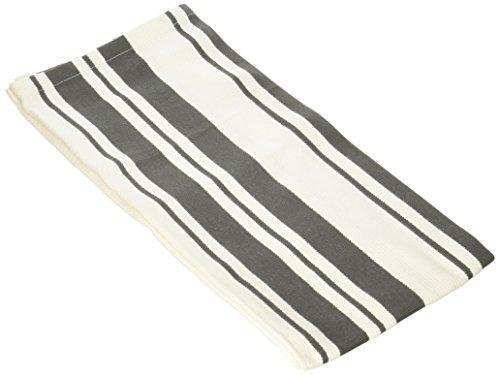 MUkitchen 100% Cotton Basket Weave Stripe Dishtowel, 20 by 30-Inches, Pewter