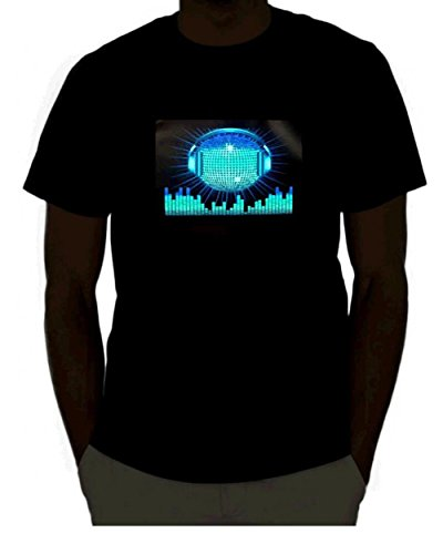 EmazingLights DJ Disco Ball With Headphones Sound Activated Light Up Rave Shirt (X-Large)