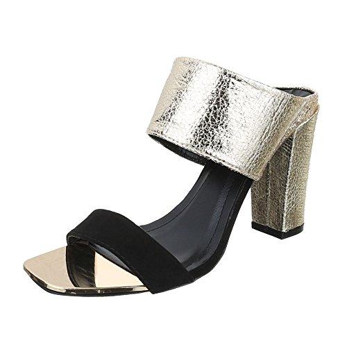 Ital-Design Women's Fashion Sandals black gold