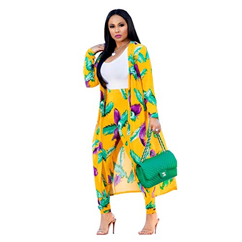 (Women 2 Piece Club Outfits Long Sleeve Floral Open Front Cardigan and Pants)