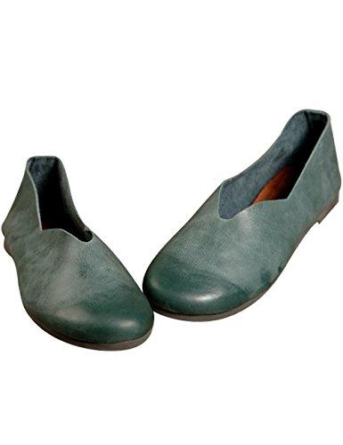 Zoulee Kvinnor Handgjorda Läder Oxfords Platta Skor Grönt