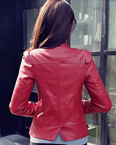 Jacket In Corto Tempo Manica Giacca Giubbotto Donna Giacche Fit Fashion Puro Autunno Rosso Colore Moto Lunga Similpelle Casuale Donne Slim Biker Eleganti Battercake Libero pCBv877