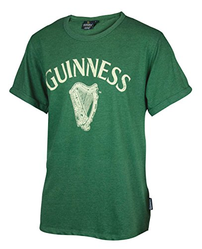 Guinness Men's Green Cotton Vintage Harp Label Short Sleeve T-Shirt, - Green Guinness