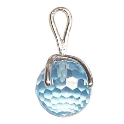 Clearance Pendentif Femme en Or 18 carats Blanc avec Topaze Bleu, 2.5 Grammes