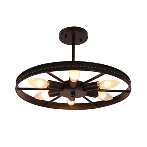 Unitary Brand Vintage Black Metal Round Wheel Semi Flush Mount Ceiling Light with 6 E12 Bulb Sockets 240W Painted Finish